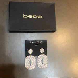 Bebe Rhinestone Disc Earrings